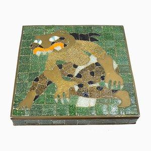Mosaik Box aus Messing & Glas von Salvador Teran, 1960er