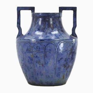 Large French Blue Glazed Urn, 1960s