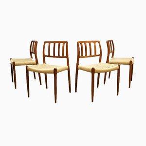 Sedie da pranzo nr. 83 vintage di Niels O. Møller per JL Møllers, anni '60, set di 4