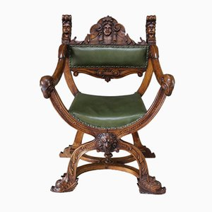19th Century Renaissance Style Carved Walnut Savonarola Chair