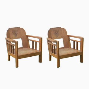 Teak Armchairs, 1930s, Set of 2