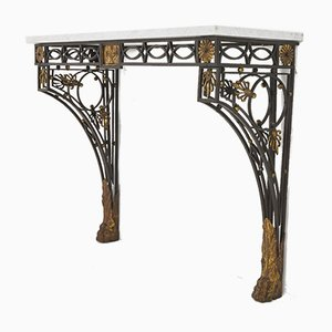 Antique French Wrought Iron & Marble Console Table