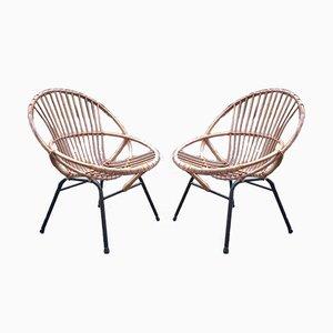 Beistellstühle aus Rattan, 1960er, 2er Set
