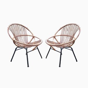 Rattan Side Chairs, 1960s, Set of 2