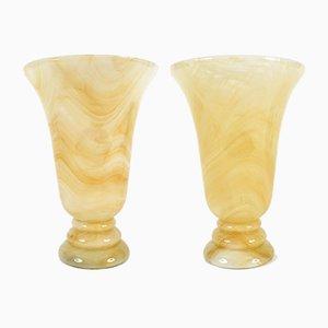 Lámparas de mesa italianas de vidrio, años 70. Juego de 2