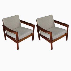 Sessel mit Gestell aus Teak, 2er Set