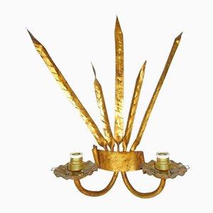 Lampada da parete Mid-Century in ferro battuto dorato, anni '50