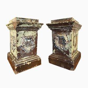 Antike mit Salz glasierte Podeste oder Sockel, 2er Set