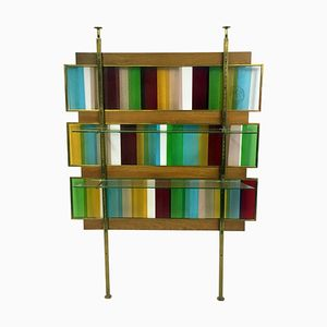 Italian Coloured Glass Screen with Shelves, 1960s