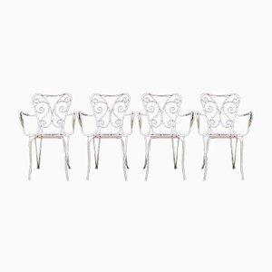 Sedie da giardino smaltate bianche, anni '50, set di 4