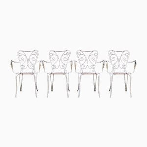 White Enamel Garden Chairs, 1950s, Set of 4