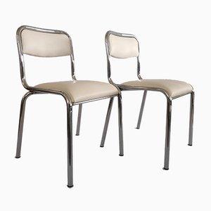 Esszimmerstühle mit weißem Sitz aus Skai & Gestell aus verchromtem Stahl, 1970er, 2er Set