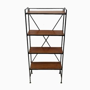 Vintage Industrial Teak & Iron Shelves