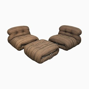 Soriana Lounge Chairs & Ottoman Set by Afra & Tobia Scarpa for Cassina, 1970s