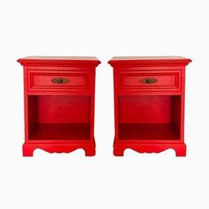 Comodini vintage rossi, set di 2