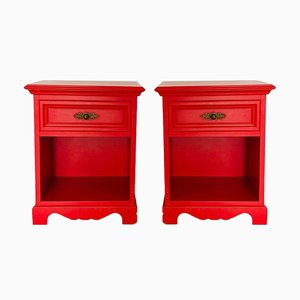 Vintage Red Nightstands, Set of 2