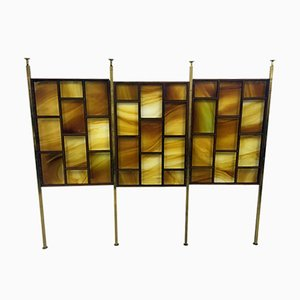 Italian Glass & Rosewood Panel Screen, 1960s