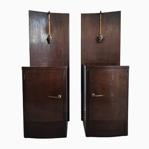 Art Deco Style Illuminated Wood and Brass Bedside Tables, 1950s, Set of 2