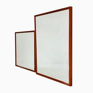 Espejos modernos vintage de madera, años 70. Juego de 2