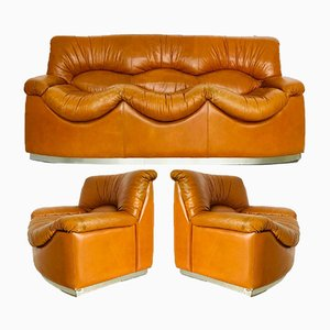 Vintage Leather Sofa & Armchairs Set