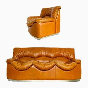 Canapé et Fauteuils Vintage en Cuir