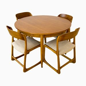 Set with Traineau Sledge Chairs and Round Table by Emile & Walter Baumann, 1960s