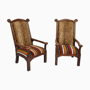 English Oak Armchairs, 1900s, Set of 2