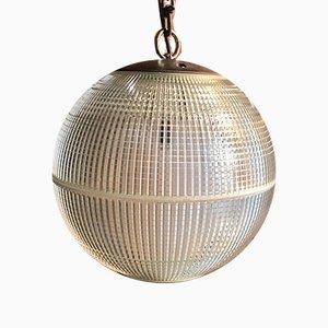 Lámpara colgante de vidrio de Holophane, años 60