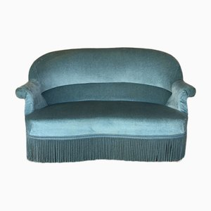 Mid-Century Blue Velour Sofa, 1960s