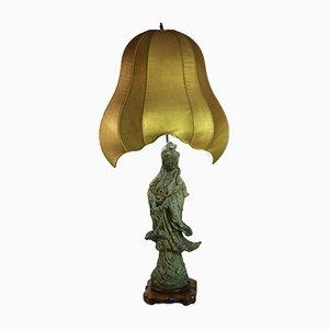 Lampe de Bureau Guanyin Verdigris, Chine, 1950s