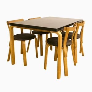 Model 81b Table & Model 68 Dining Chairs Set by Alvar Aalto for Finmar, 1950s