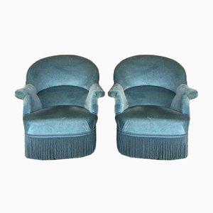 Mid-Century Blue Velour Armchairs, 1960s