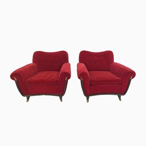 Mid-Century Italian Red Velvet Armchairs, 1950s, Set of 2