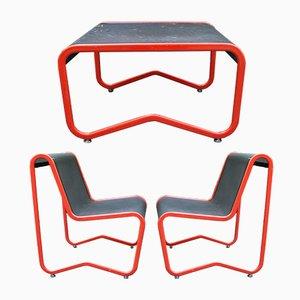 Gartenset aus Eisen mit Tisch & 2 Armlehnstühlen, 1970er