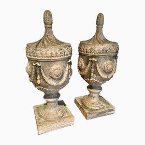 Urne vintage in stile neoclassico in legno, anni '90, set di 2