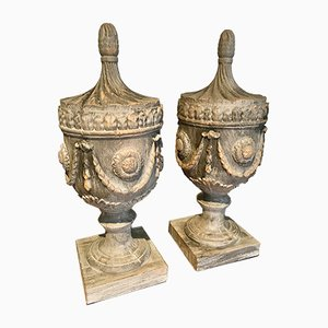 Vintage Neo-Classical-Style Wooden Half Urns, 1990s, Set of 2