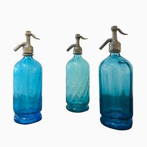 Sifoni da seltz antichi in vetro blu, set di 3