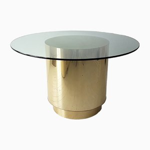 American Cylindrical Brass & Golden Laminate Dining Table, 1970s
