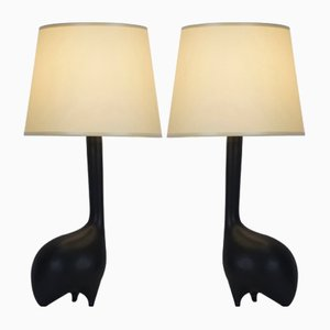 Zoomorphe Tischlampen aus mattschwarzer Keramik, 1960er, 2er Set