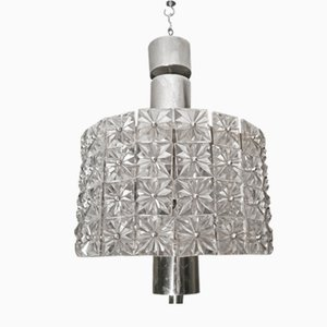 Crystal & Steel Chandelier, 1960s