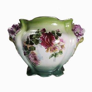 Vintage French Ceramic Barbotine Plantholder, 1920s