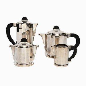 Servizio da caffè o tè Art Déco vintage in metallo, argento ed ebano, Francia, anni '30
