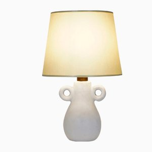 Vintage Small White Ceramic Lamp with Handles, 1960s
