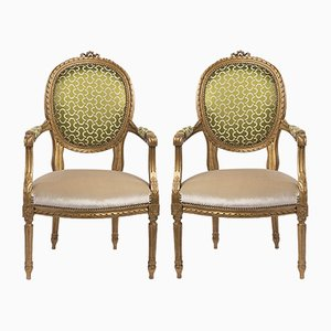 19th-Century Louis XVI Style French Armchairs, Set of 2