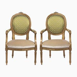 Französische Armlehnstühle im Louis XVI-Stil, 19. Jh., 2er Set
