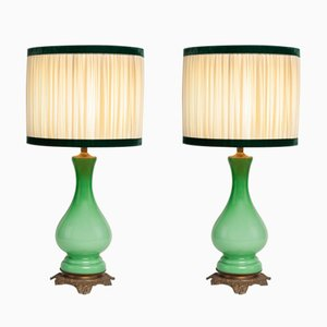 Antique French Opaline & Brass Lamps, Set of 2