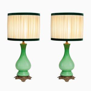 Lampes Antiques en Verre Opalin et Laiton, France, Set de 2