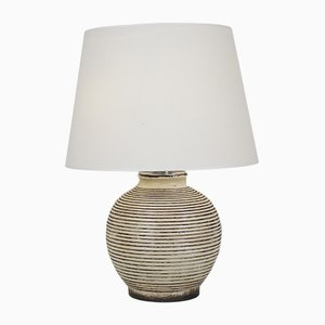 Vintage Ivory Ceramic Table Lamp, 1960s