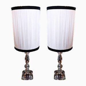 Lampes de Bureau Vintage en Cristal, 1930s, Set de 2