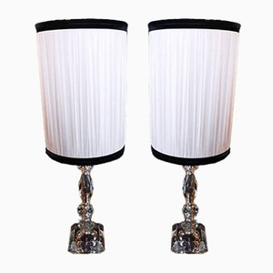 Vintage Crystal Table Lamps, 1930s, Set of 2